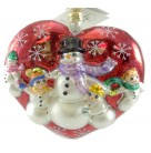 Warm Hearted Wonder - Children's Foundation, Radko Christmas Ornaments, 2001, 01-SP-83, Charity Snowman Gent & kids hold hands, Mint with Medallion