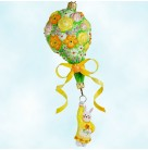 Heavenly Bouquet - Girl Bunny, Patricia Breen Christmas Ornament, 2012 2204, Multicolored floral balloon, bejeweled, Mint with Tag