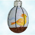 Miniature Egg - Song Bird, Patricia Breen Easter Ornament, 2007, 2731, Yellow bird in cage, sky background, Mint with Tag