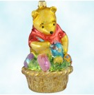 Easter Pooh - Disney, Radko Christmas Ornaments, 1997, 97-DIS-16, eggs, Winnie the Pooh Bear, paints eggs in basket, Mint with Tag, Box