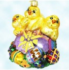 Peep Trio - Easter, Radko Christmas Ornament, 2000, 00-276-0, Three chics on eggs, Easter Gem Colleciton, Mint with Medallion