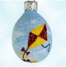 Miniature Egg -  Go Fly a Kite, 2004, B2451, Restricted Quantities, All glittered blue with flying kite, ribbons meandering arond bottom, Easter, Mint with Tag