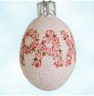 Miniature Egg - Flowered Pax, Peace, Patricia Breen Ornament, 2006, 2629, Easter, Glittered pink with roses, Mint with Tag