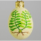 Miniature Egg - Furling Ferns, Patricia Breen Christmas Ornament, 2009, 2922, Easter, Spring, green plants, yellow, Mint with Tag