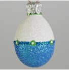 Miniature Egg - Blue and White, Patricia Breen Christmas Ornaments, 2002, 2267, Easter, Spring, raised dots, Mint with Tag