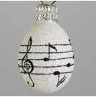 Miniature Egg - Musical Notes, Patricia Breen Christmas Ornaments, 2003, 2367, Easter, black staff & treble clef, Mint with Tag