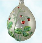 Strawberry Egg - Matte, Patricia Breen Christmas Ornaments, 1998, 9800NM, Neiman Marcus SR, fruit on pearl egg, Easter , Mint with Tag
