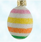 Miniature Egg - Spring Stripes, Patricia Breen Christmas Ornaments, 2006, B2629, Easter, Exclusive pearl with stripes, Mint