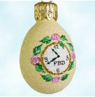 Miniature Egg - Little Clock, Patricia Breen Christmas Ornament, 2004, 2451, Restricted Quantities, yellow, Easter, Mint