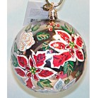 Floral Reflection Ball, 2001, First Coloration, 01-0033-0, Silver ball with painted red, white poinsettias, pink roses, Mint with Tag