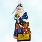 Toychest Santa - 25th Anniversary, Christopher Radko Christmas Ornament, 2010, 1015190, Blue robe, toys, Mint with Tag, Box