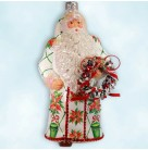 Stately Santa - Poinsettia & Wreath, Patricia Breen Christmas Ornament, 2012, 3230, Bejeweled Green lattice,, Mint with Tag