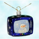 Nicholas at Night -  Snowman's Weather Report, Patricia Breen Christmas Ornaments, 2004, 2431, blue television with snowman, Mint with Tag