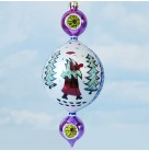 Blue Lucy, 15th Anniversary,Radko Ornaments, 2000, 00-1409-0, 3 tier, Pearl drop with red Santa carry tree and walking among trees, pink drop with gold reflector above and below pearl center piece, Ch