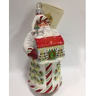Merry Christmas Santa - Tannenbaum, Patricia Breen Christmas Ornament, 2008, 2858, Store Exclusive, bejeweled red & white barn, Mint with Tag