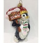 Penguin - Let it snow, Christopher Radko Christmas Ornament, 2003, [model number], Peppermint muffler, red snowflake hat, sign, Mint