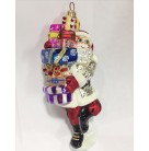Last Minute Shopper Santa, Christopher Radko Christmas Ornament, 2001, 01-0681-0, Silver jacket with stars, balances on one foot, Mint
