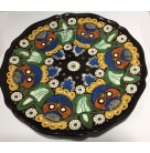 Owl Plate, Thoune Pottery - Swtzerland, 1912, (no model number), Majolica  type, 6 owls, foliage, blue centered daisies, Excellent