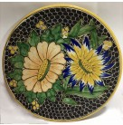Sunflower Plate, Puebla Mexico - Uriarte, 1990s, 4PTe-911, Ochre edge and black encapsulated circles/ovals, Excellent vintage condition