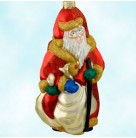 Cubist Santa - Red, Patricia Breen Christmas Ornaments, 1999, 9907, Gold & green glitter, Picasso, Braque, Mint with Tag