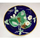 Bowl - Majolica Wedgewood, 1860, M SAY embossed dating code, Royal Blue, white strawberries, Excellent antique condition