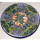 Plate  - Scalloped, Talavera - Puebla Mexico, 1980s, Folk Art, Centered floral, olive, blue flower bunches, blue hatch