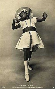 An antique picture of a black girl performing the cat walk dance