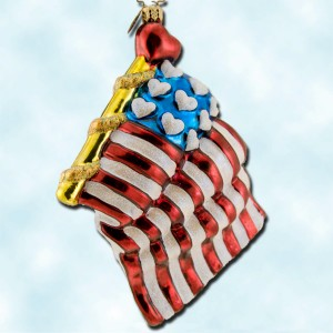 Christopher Radko Patriotic Memorial Day American flag European glass ornament