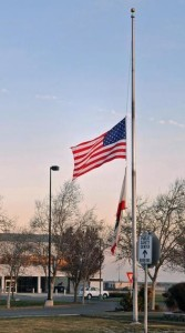 American Flag flown at half mast.