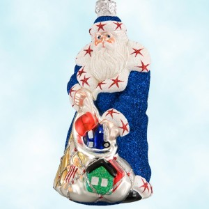 Patricia Breen Santa Presents Patrioti Glass Ornament