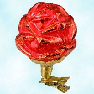 Christopher Radko Red Rose Glass Ornament Clip On to Honor Dad
