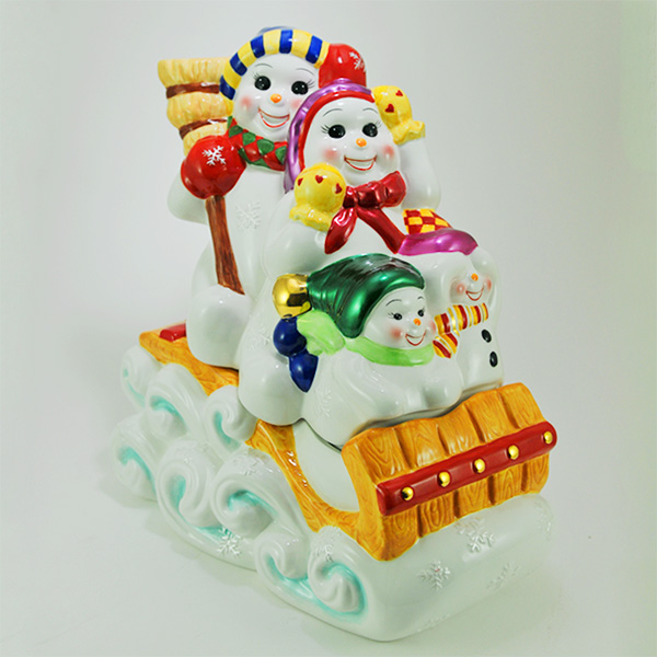 Radko home decoration family outing snowman cookie jar