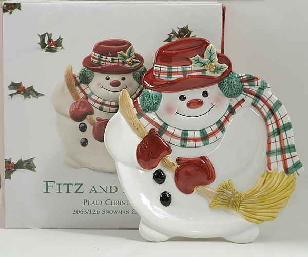 Fitz and floyd christmas decor plaid christmas snowman for Fitz and floyd canape plate