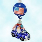 Knightsbridge Santa - Stateside, Patricia Breen Christmas Ornaments, 2002, 2238, Patriotic blue convertible, flag medallion, Mint With Tag