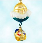 Santa's Underwater Sleigh - Glittered Stars, Patricia Breen Christmas Ornaments, 1999, 9932, RQ, variant, moon, Mint With Tag