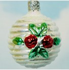 Ball with Red Roses, Old World Inge  Glas, 1990s, 3633, Retired, Pearl with pearl glitter, Mint