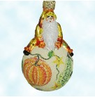 Snow Frolic - Sumptuous Gourd, Patricia Breen Christmas Ornaments, 2004, 2351, Santa & pumpkin, Bejeweled, Mint With Tag