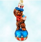 Teddy for President, Christopher Radko Christmas Ornaments, 1997, 97-245-0, Uncle Sam bear, American flag, patriotic, Mint with Tag