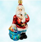No Time Like The Present Santa, Christopher Radko Christmas Ornaments, 1999, 99-SP-54, pipe, New Years, millenium, Mint with Tag, Box