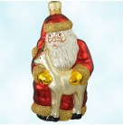 Santa and Sarenka - Red Matte, Patricia Breen Christmas Ornaments, 1999, 9838, Reindeer, Gold trim & mittens, Rudolph, Mint With Tag