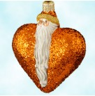 Santa Du Coeur - Orange, Patricia Breen Christmas Ornaments, 2000, 2034, Heart, Valentines, glittered, Mint With Tag