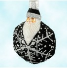 Snowflake Noel Santa, Black and Silver, Patricia Breen Christmas Ornaments, 2002, 2257, Hexagonal snowflake, Mint with Tag