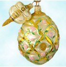 Trelliage Beehive - Pink Roses, Patricia Breen Christmas Ornaments, 2000, 2043, Bee toggle, Spring flowers, Mint With Tag
