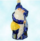 Santa With Sun and Moon in Pockets - Blue, Patricia Breen Christmas Ornaments, 2003, 2375, Neiman Marcus SR, LTD 216, Night Cityscape, Mint With Tag