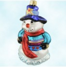Valentines Hearful Snowman, Christopher Radko Christmas Ornaments, Teal top; hearts, red scarf; blue top hat with star, Mint