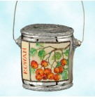 Colourful Quarts - Rowan Cherries, Patricia Breen Christmas Ornaments, 2005, 2579, Milaeger's, silver cherry paint can, Mint With Tag