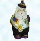Just about Midnight, Rainbow Santa, Larry Fraga Christmas Ornaments, Dresden Dove, 2002, FRA 5870, Rainbow glittered suit, pocket watch, Mint with Tag