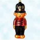 Toy Soldier Bear, Radko Ornaments, 1996, 96-FAO-04, FAO Schwarz, Animal, teddy, black  hat, red jacket, Christmas, Mint in Box
