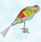 Perky Pete, Radko Ornaments, 1994, 94-064-0, Clip on, Parrot, blue,green blown gold wing, angel hair tail, Christmas, Mint