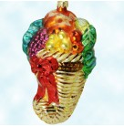 Cornucopia Frost, Christopher Radko Ornaments, 98-216-0, Wicker, Fruit, Leaves, Red Ribbon, fall harvest, Mint With Tag